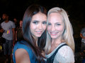 Nina, and Candice Accola on set - the-vampire-diaries-tv-show photo