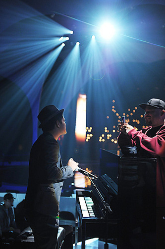 Bruno Mars rehearses at the Nokia Theater for the 2010 MTV VMAs.