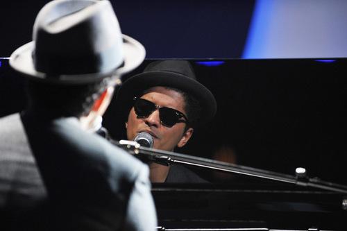Bruno Mars rehearses at the Nokia Theater for the 2010 MTV VMAs.