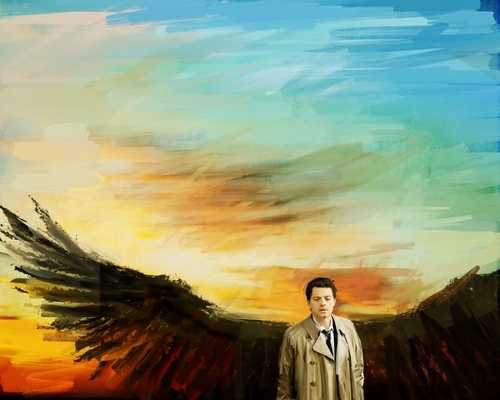 Castiel wallpaper possibly containing a sunset titled Castiel