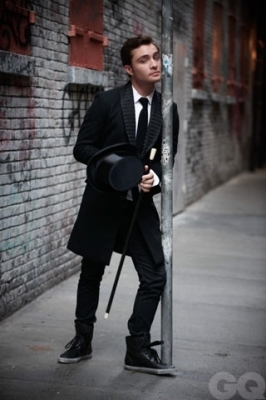 Ed Westwick Hintergrund containing a business suit, a well dressed person, and a straße called Ed's Photoshoot for GQ UK