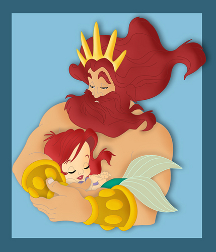 King Triton and baby Ariel
