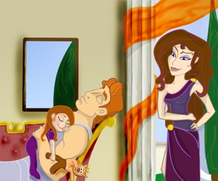 Megara and Hercules with daughter