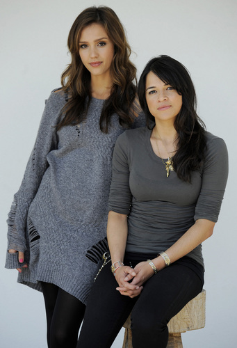 Michelle & Jessica Alba @ Machete Press Junket [HQ]