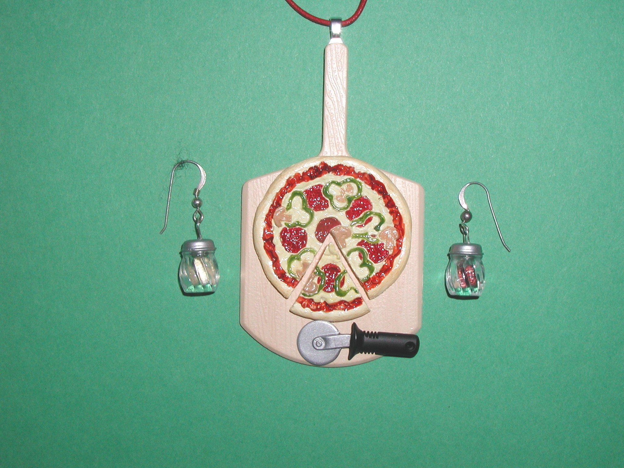 Miniature pizza and Earrings Set