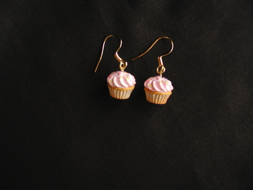 Miniature cupcake earrings