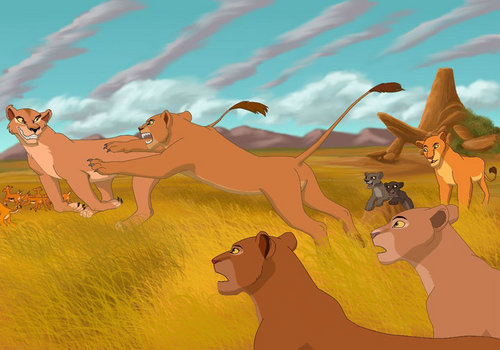 The Lion King wallpaper probably containing anime called Nala attack Zira