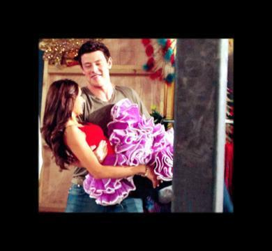 Nina Dobrev with Cory Monteith at the Emmy