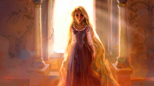 Tangled wallpaper with a fountain entitled Rapunzel :)