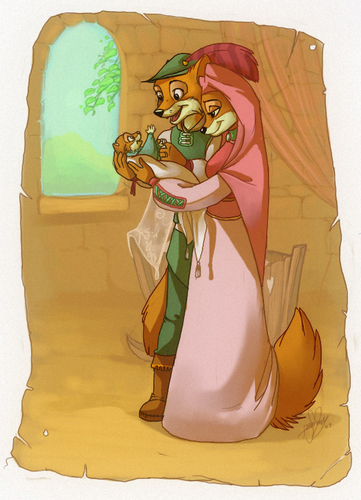 disney fondo de pantalla entitled Robin capucha, campana and Maid Marion have a baby zorro, fox
