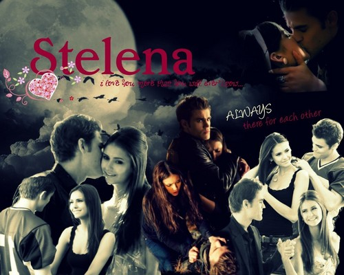 Stefan & Elena wallpaper probably containing a sign and anime titled Stelena wallpaper :)