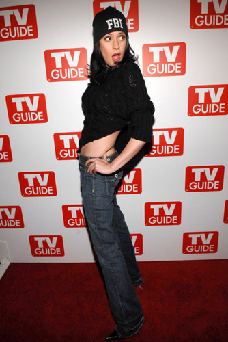 Paget Brewster wallpaper probably containing a sign titled TV Guide party