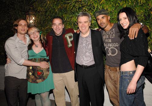 Paget Brewster wallpaper possibly with long trousers entitled TV Guide party
