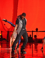 Usher rehearses at the Nokia Theater for the 2010 MTV VMAs.