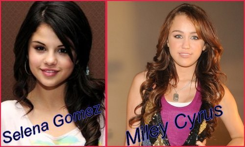 Miley Cyrus vs. Selena Gomez Hintergrund with a portrait titled miley cyrus,selena