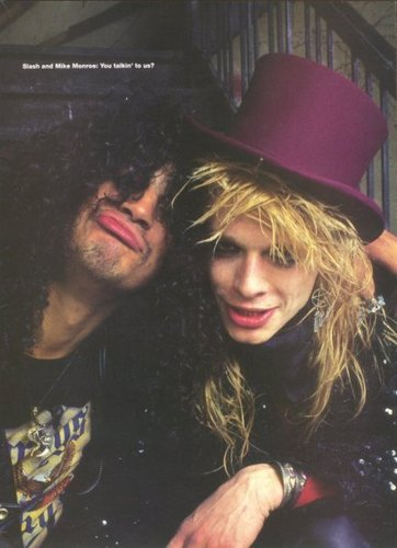 Slash wallpaper containing a fedora, a boater, and a campaign hat titled slash & michael monroe