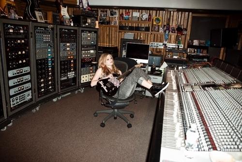 Avril Lavigne in the studio