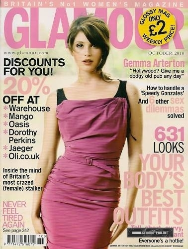 Gemma Arterton پیپر وال with a رات کے کھانے, شام کا کھانا dress, a کاک, کاکٹیل dress, and a strapless titled Glamour Magazine October 2010