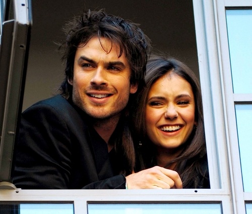 The Vampire Diaries Actors wallpaper containing a sign called Ian Somerhalder & Nina Dobrev / London