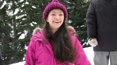 Jodelle Ferland on set of Ice Quake (2010)