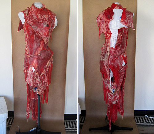 lady gaga meat dress costume. lady gaga meat dress.