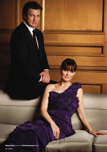 Nathan Fillion and Emily Deschanel in Emmy Magazine