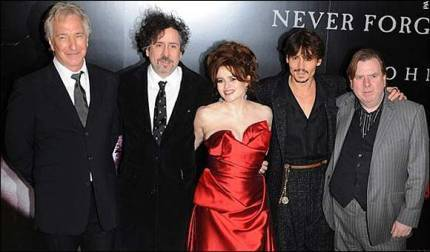 Snape, Bellatrix, Wormtail, Jack Sparrow and Tim Burton all posing for a picture.