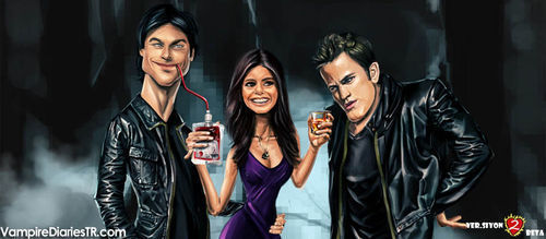 The Vampire Diaries wallpaper possibly containing a business suit titled Stefan,Damon,Elena