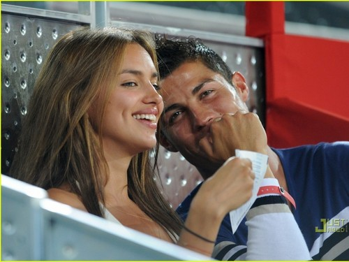 Cristiano Ronaldo wallpaper probably containing a sign entitled girlfriend irina and ronaldo