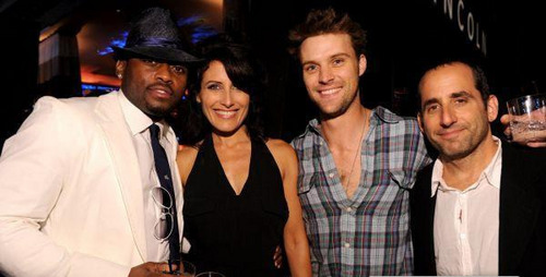 lisa edelstein with the cast members jesse,peter and omar vos, fox fall eco-casino party 2010