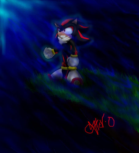 Sonic, Shadow, and Silver wallpaper titled shadow in the moonlight rain