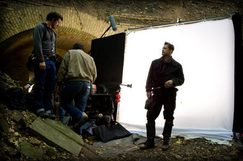 Brad Pitt On Set As Aldo Raine