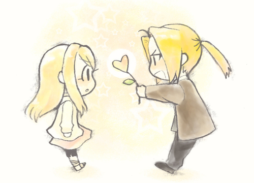Edward Elric and Winry Rockbell Hintergrund titled For joo <3