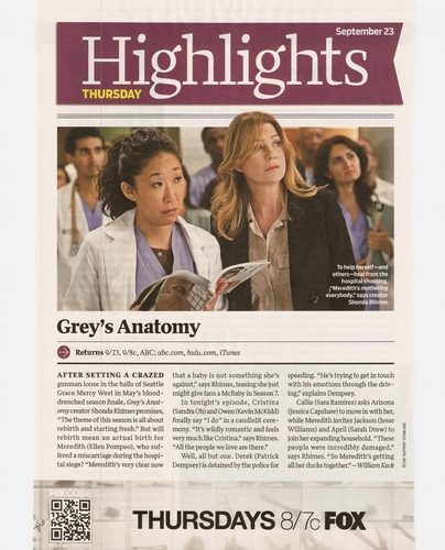 Grey's Anatomy - TV Guide Scan