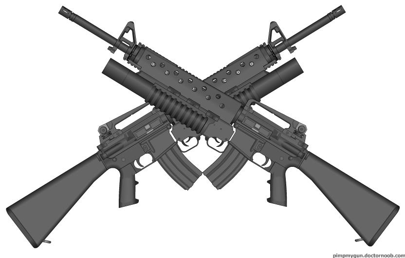 Gun Decals :: M-4 Guns Crossed Decal / Sticker  Crossed Guns M4