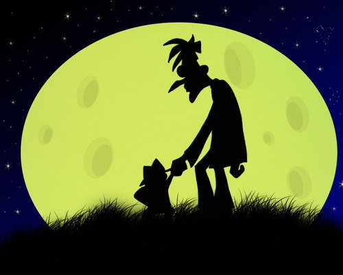 phineas y ferb fondo de pantalla possibly containing a sign and a calle entitled Moon Over Doof