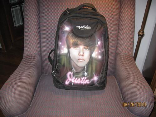 Myah's Bieber Fever Backpack! :-)