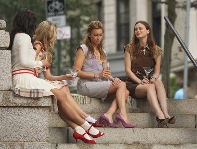 On the set with Leighton Meester