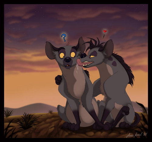Hyenas from Lion King wolpeyper probably containing anime titled Shenzi and Banzai - pag-ibig