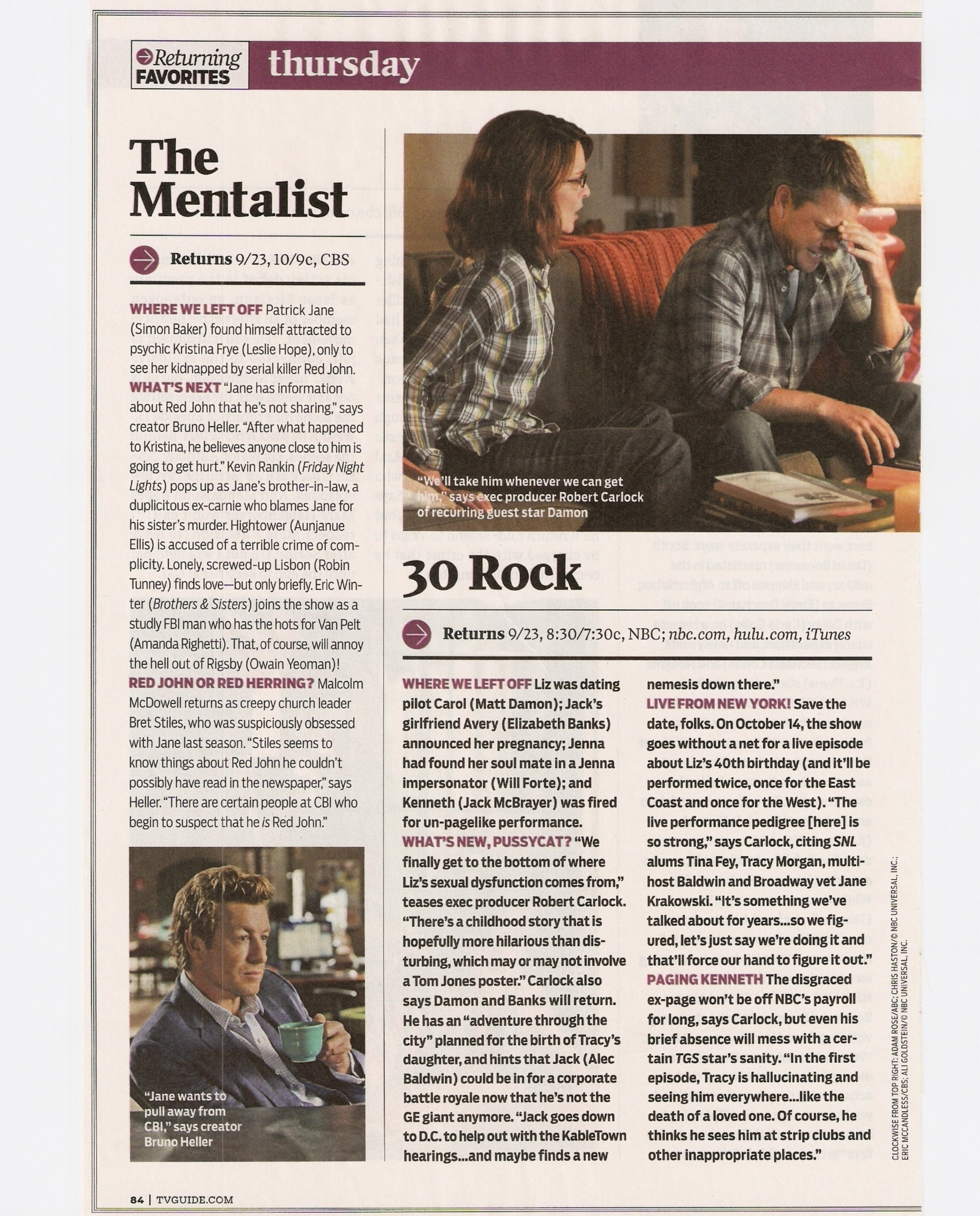 SPOILER : Tv Shows Returning favorit - The Mentalist (scan)