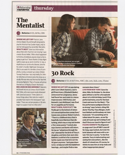 SPOILER : Tv Shows Returning পছন্দ - The Mentalist (scan)