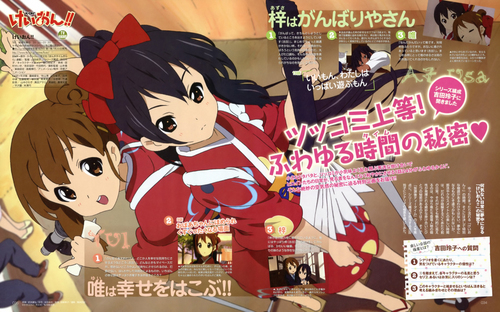 K-ON! wallpaper containing anime titled Yui&Azusa