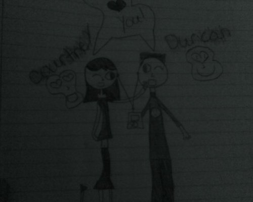 this is my art of duncan and courtney i know it suckes