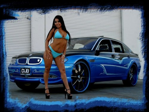 BMW wallpaper with a bikini and a swimsuit entitled BMW 7 SERIES