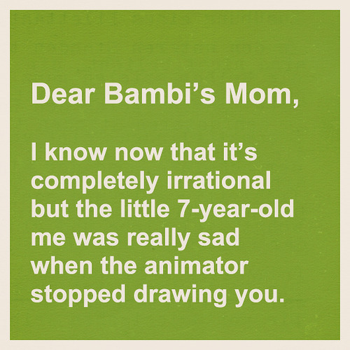 fan letter to Bambis Mom