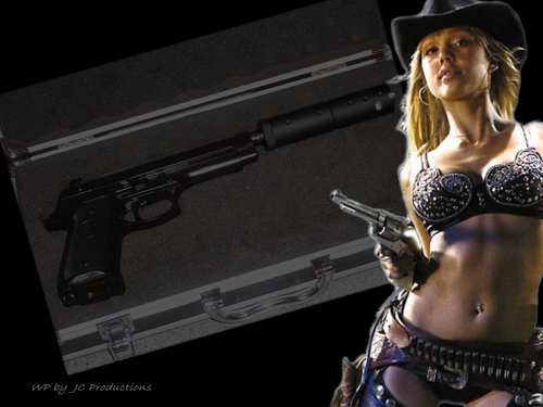Jessica Alba wallpaper possibly with a bikini entitled Jessica Alba with her six shooters from Sin City
