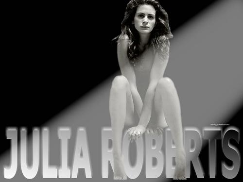 Julia Roberts wallpaper probably containing attractiveness, a portrait, and skin titled Julia Roberts nude in the spotlight