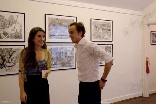 Tom Felton attends Lizzie Mary Cullen charity art exhibition
