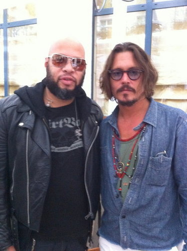 johnny depp and Frank Ferrer (Guns N' Roses) 13.09.2010 Paris.