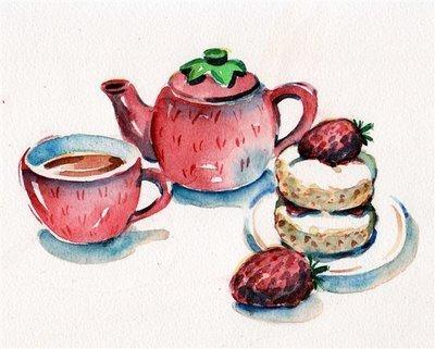 morango chá painting